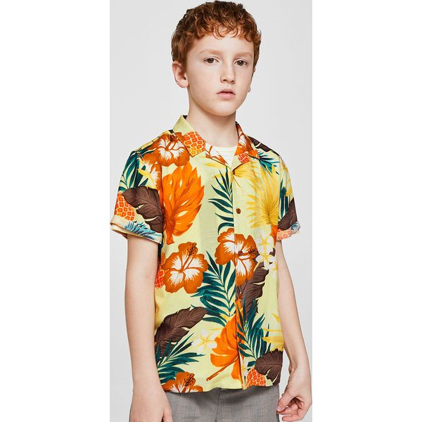 c3cc8ff559a98b Mango Kids - Koszula dziecięca Maui 110-164 cm - Szare koszule męskie Mango  Kids, z wiskozy, z klasycznym kołnierzykiem, z krótkim rękawem.