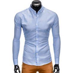 KOSZULA MĘSKA Z DŁUGIM RĘKAWEM K401 - BŁĘKITNA. Niebieskie koszule męskie na spinki Ombre Clothing, m, z długim rękawem. Za 69,00 zł.