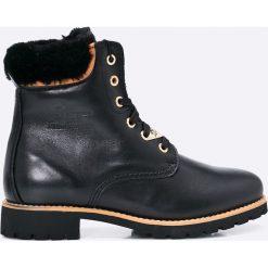 Panama Jack - Botki. Czarne buty zimowe damskie Panama Jack, z materiału, na obcasie, na sznurówki. W wyprzedaży za 399,90 zł.