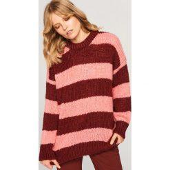 Sweter w paski - Wielobarwn. Brązowe swetry klasyczne damskie marki Reserved, l. Za 99,99 zł.
