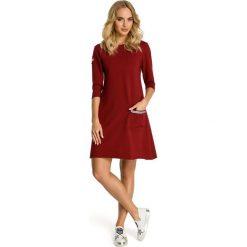 Sukienki: Sukienka trapezowa z kieszenią - bordowa