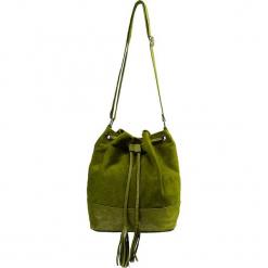 """Skórzana torebka """"Petra"""" w kolorze khaki - 33 x 28 x 14 cm. Brązowe torebki klasyczne damskie Spécial maroquinerie, w paski, z materiału. W wyprzedaży za 159,95 zł."""