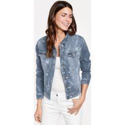 Kurtki damskie: Dżinsowa kurtka z rozjaśnianym wzorem