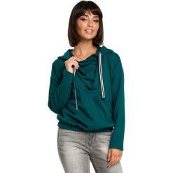Zielona Krótka Oryginalna Bluza z Kapturem. Zielone bluzy rozpinane damskie Molly.pl, l, z jeansu, z długim rękawem, długie, z kapturem. Za 139,90 zł.