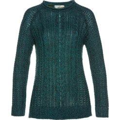 Swetry klasyczne damskie: Sweter we wzór w warkocze bonprix niebieskozielony morski – niebieski