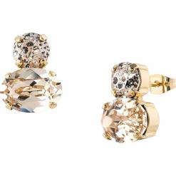 Pozłacane kolczyki-wkrętki z kryształkami Swarovski. Brązowe kolczyki damskie Destellos, z kryształem, metalowe. W wyprzedaży za 77,95 zł.