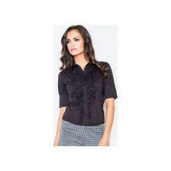 Koszula M025 Czarny. Czarne koszule wiązane damskie FIGL, m, z bawełny, eleganckie, z żabotem, z krótkim rękawem. Za 77,00 zł.