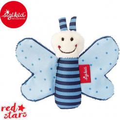 SIGIKID Miękka mini – przytulanka Niebieski motylek z szeleszczącymi skrzydełkami Red Stars. Czerwone przytulanki i maskotki SIGIKID. Za 24,99 zł.