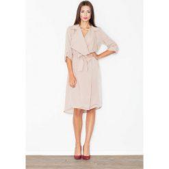 Sukienki: Szlafrokowa Beżowa Sukienka z Podpinanym Rękawem