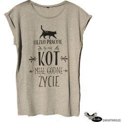 Ciężko pracuję by mój kot , t-shirt S, M, L. Czarne t-shirty damskie Pakamera, l, z napisami. Za 63,00 zł.