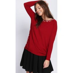 Bordowy Sweter What Chance. Czerwone swetry klasyczne damskie Born2be, l, ze stójką. Za 69,99 zł.