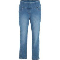 """Dżinsy ze stretchem 7/8, wysoka talia bonprix niebieski """"stone"""". Zielone jeansy damskie marki bonprix, w kropki, z kopertowym dekoltem, kopertowe. Za 89,99 zł."""
