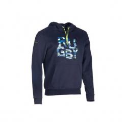 Bluza z kapturem rugby Hoodie męska. Niebieskie bejsbolówki męskie KIPSTA, l, z bawełny, z kapturem. Za 109,99 zł.