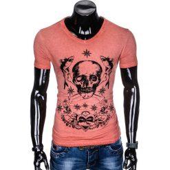 T-SHIRT MĘSKI Z NADRUKIEM S888 - KORALOWY. Zielone t-shirty męskie z nadrukiem marki Ombre Clothing, na zimę, m, z bawełny, z kapturem. Za 39,00 zł.