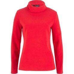 Bluza z polaru z golfem bonprix truskawkowy. Czerwone bluzy polarowe bonprix. Za 49,99 zł.