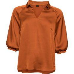 Bluzka z rękawami 7/8 bonprix miedziany. Brązowe bluzki z odkrytymi ramionami bonprix, z dekoltem w serek. Za 119,99 zł.