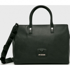 Love Moschino - Torebka. Czarne torebki klasyczne damskie marki Love Moschino, w paski, z materiału, duże. Za 999,90 zł.