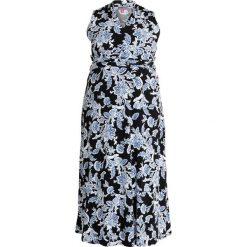 Vince Camuto Plus WOODBLOCK FLORAL HALTER DRESS Długa sukienka rich black. Czarne długie sukienki Vince Camuto Plus, z dżerseju, z dekoltem halter, z długim rękawem. Za 479,00 zł.