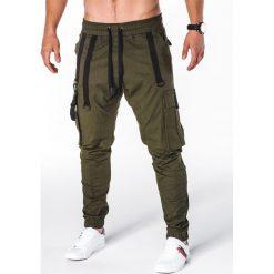 SPODNIE MĘSKIE JOGGERY P716 - KHAKI. Czarne joggery męskie marki Ombre Clothing, m, z bawełny, z kapturem. Za 74,00 zł.