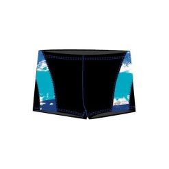 Kąpielówki męskie: AQUAWAVE Męskie Kąpielówki WEBER BLACK/WAVES PRINT r. M