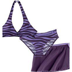 Stroje dwuczęściowe dziewczęce: Bikini+spódniczka dziewczęce (3 cz.) bonprix ciemny lila – jasny lila zebra
