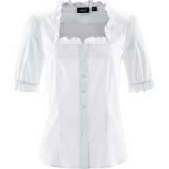 Bluzka ludowa, krótki rękaw bonprix biały. Niebieskie bralety marki bonprix, z nadrukiem. Za 79,99 zł.