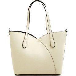 Torebki klasyczne damskie: Skórzana torebka w kolorze beżowym – (S)39 x (W)27 x (G)12,5 cm