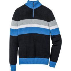 Sweter ze stójką Regular Fit bonprix czarno-jasnoszary melanż - lodowy niebieski. Czarne golfy męskie marki bonprix, l, melanż, z bawełny. Za 74,99 zł.