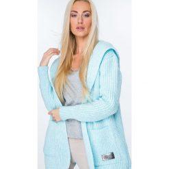 Kardigany damskie: Sweter z warkoczowym wiązaniem turkusowy MISC004