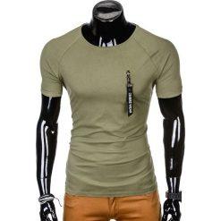 T-SHIRT MĘSKI Z NADRUKIEM S1011 - KHAKI. Brązowe t-shirty męskie z nadrukiem marki Ombre Clothing, m, z bawełny. Za 35,00 zł.
