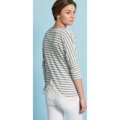 Answear - Bluzka. Szare bluzki asymetryczne ANSWEAR, m, z bawełny, casualowe, z okrągłym kołnierzem. W wyprzedaży za 59,90 zł.