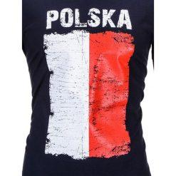 T-shirty męskie: T-SHIRT MĘSKI Z NADRUKIEM S775 – GRANATOWY