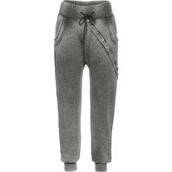 """Spodnie dresowe damskie: Spodnie dresowe z długą plisą guzikową bonprix nocny oliwkowy """"oil wash"""""""