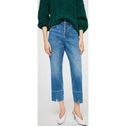 Mango - Jeansy Button. Niebieskie proste jeansy damskie Mango, z podwyższonym stanem. W wyprzedaży za 119,90 zł.