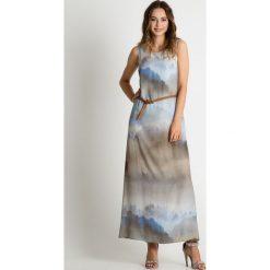 Długie sukienki: Popielata sukienka maxi z paskiem BIALCON
