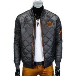 KURTKA MĘSKA PRZEJŚCIOWA PIKOWANA C317 - SZARA. Szare kurtki męskie pikowane Ombre Clothing, m, z nylonu, eleganckie. Za 109,00 zł.