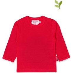 Koszulka w kolorze czerwonym. Czerwone bluzki dziewczęce bawełniane Toby Tiger, z okrągłym kołnierzem, z długim rękawem. W wyprzedaży za 42,95 zł.