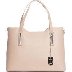 Torebki klasyczne damskie: Skórzany shopper bag w kolorze jasnoróżowym - 45 x 37 x 16 cm