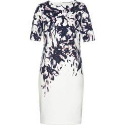 Sukienki: Sukienka bonprix biel wełny z kolorowym nadrukiem
