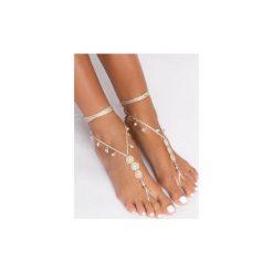 Bransoletki damskie: Beżowa bransoletka na stopę Flowers
