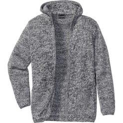 Swetry męskie: Długi sweter bez zapięcia, z kapturem Slim Fit bonprix czarno-biały melanż