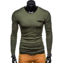 SWETER MĘSKI E116 - KHAKI. Zielone swetry klasyczne męskie marki Ombre Clothing, na zimę, m, z bawełny, z kapturem. Za 39,00 zł.