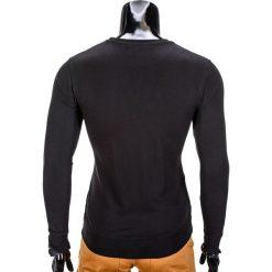 BLUZA MĘSKA BEZ KAPTURA Z NADRUKIEM B674 - CZARNA. Czarne bluzy męskie rozpinane marki Ombre Clothing, m, z bawełny, z kapturem. Za 39,00 zł.