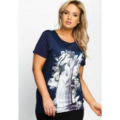T-shirty damskie: Granatowy T-shirt Tree Bark