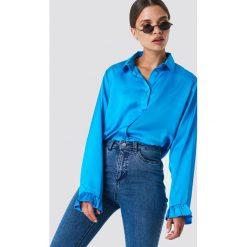 NA-KD Satynowa koszula - Blue. Niebieskie koszule damskie NA-KD, z materiału. Za 121,95 zł.