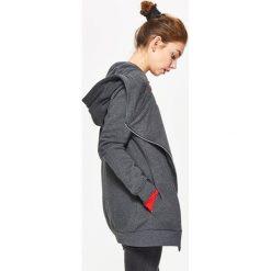 Bluzy damskie: Bluza z asymetrycznym zamkiem - Czarny