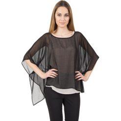 Bluzki asymetryczne: Luźna bluzka z dwukolorowego szyfonu BIALCON