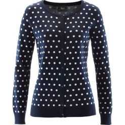 Swetry rozpinane damskie: Sweter rozpinany bonprix ciemnoniebiesko-biały w groszki