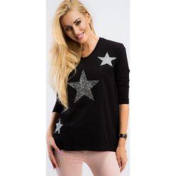 Tuniki damskie: Czarna tunika z gwiazdami z dłuższym tyłem 3329