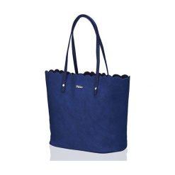 TORBA SHOPPER FALBANKA MILTON  GRANATOWA SADIE. Niebieskie shopper bag damskie Milton, z materiału, na ramię, zdobione. Za 99,00 zł.
